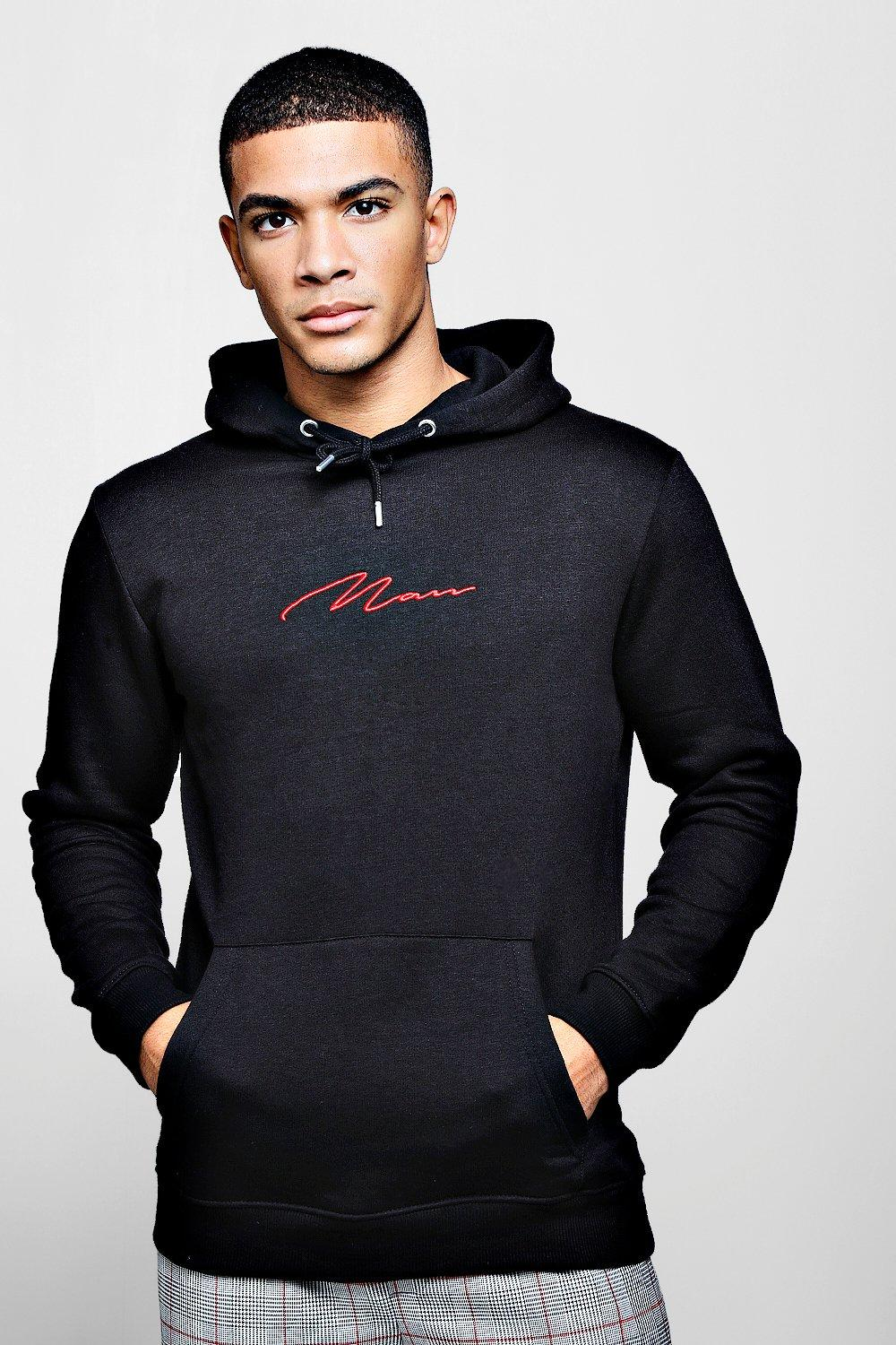 Red MAN Signature Embroidered Hoodie | Boohoo UK