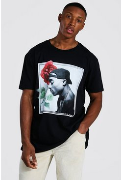 Black Oversized Tupac Rose License T-shirt
