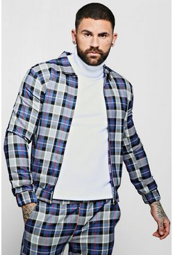 Blue Large Tartan Check Smart Coach Jacket