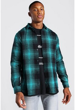 Teal green Long Sleeve Flannel Check Shirt
