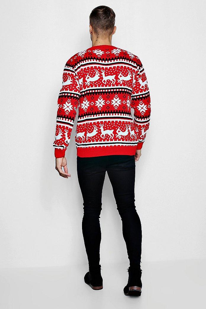 Reindeer Fairisle Christmas Jumper   boohoo