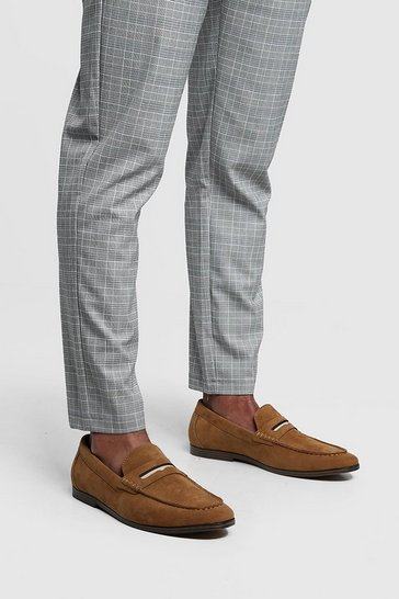 Tan brown Faux Suede Tape Detail Loafer