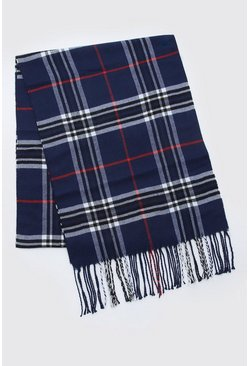Navy Check Knitted Tassel Scarf