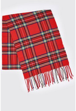 Red Check Knitted Tassel Scarf