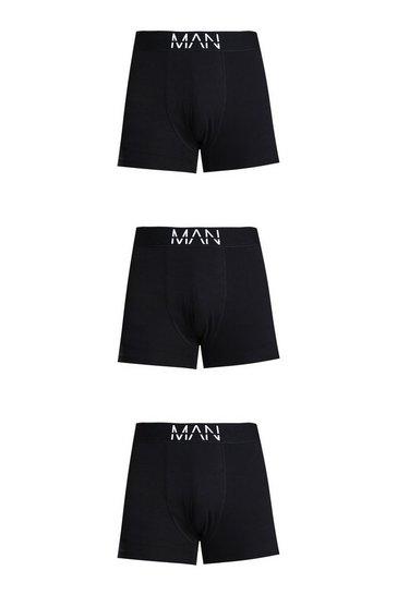 Black Plus Size 3 Pack Man Dash Mid Length Trunks