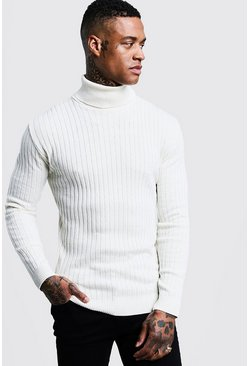 Ecru white Muscle Fit Ribbed Long Sleeve Roll Neck Jumper