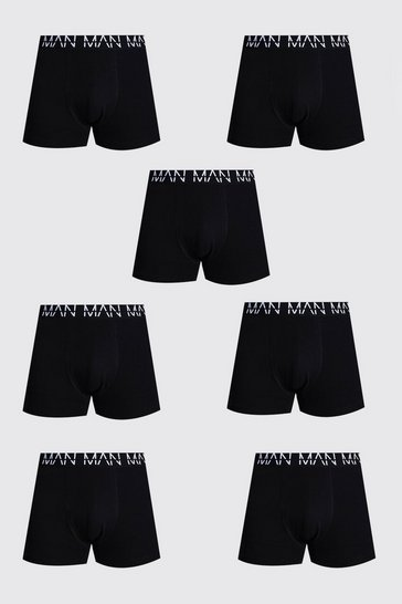 Black Plus Size 7 Pack Man Repeat Mid Length Trunks