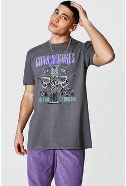 Charcoal grey Oversized Guns N Roses License T-shirt