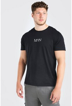 Black Plus Size MAN Dash Longline T-Shirt