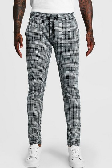 Grey Check Skinny Fit Jogger
