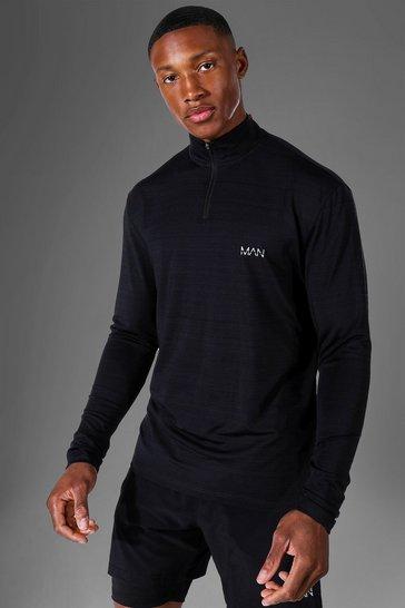 Black Man Active Marl 1/4 Zip Top
