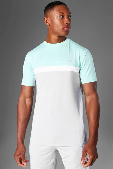 Mint green Man Active Marl Colour Block T Shirt