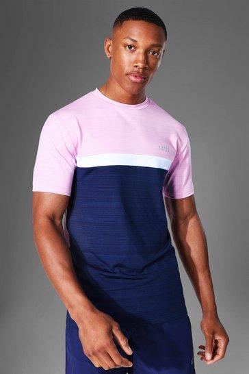 Pink Man Active Marl Colour Block T Shirt