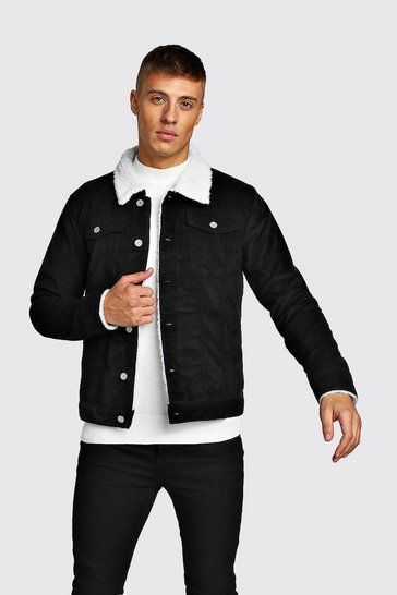 Black Corduroy Jacket With Borg Collar
