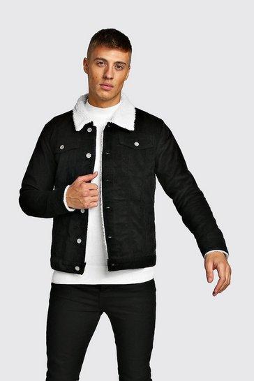 Black Corduroy Jacket With Borg Collar