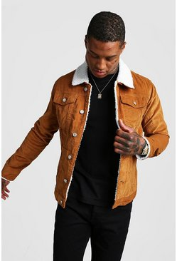Tan brown Corduroy Jacket With Borg Collar