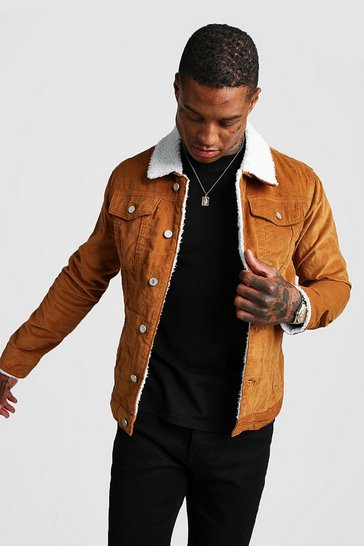 Tan brown Cord Jacket With Borg Collar