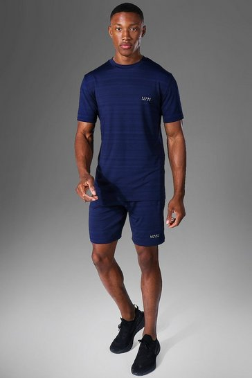 Navy Man Active Marl T Shirt And Short Tracksuit