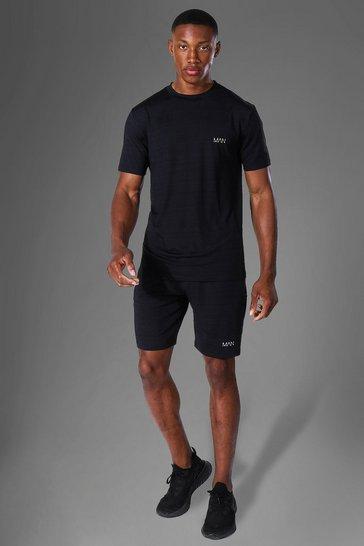 Black Man Active Marl T Shirt And Short Tracksuit