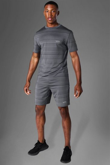 Charcoal grey Man Active Marl T Shirt And Short Tracksuit