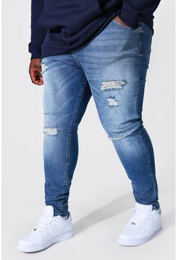 Light blue blue Plus Super Skinny Multi Rip Jean