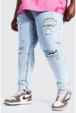 Ice blue Plus Super Skinny Multi Rip Jean