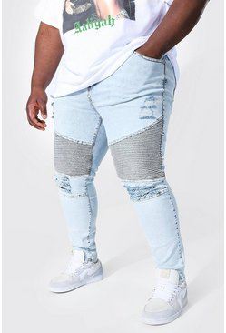 Ice blue Plus Super Skinny Multi Rip Biker Jean