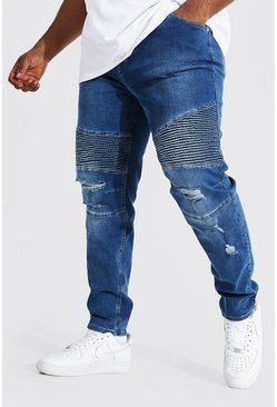 Mid blue blue Plus Skinny Biker Jean With Abrasions