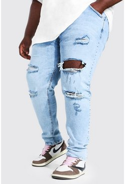 Ice blue Plus Skinny Stretch Multi Rip Jean