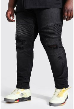 Washed black Plus Skinny Biker Jean With Abrasions