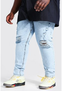 Ice blue Plus Skinny Extreme Busted Knee Jean