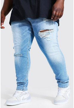 Light blue blue Plus Super Skinny Busted Knee Jean