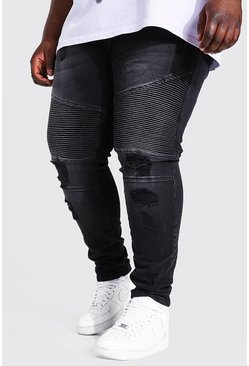 Washed black Plus Super Skinny Busted Knee Biker Jean