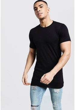 Black Muscle Fit Longline T-Shirt
