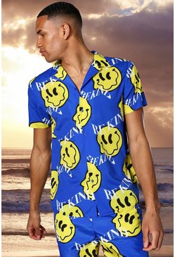 Tall Short Sleeve Revere Happy Face Print Shirt, Cobalt Синий