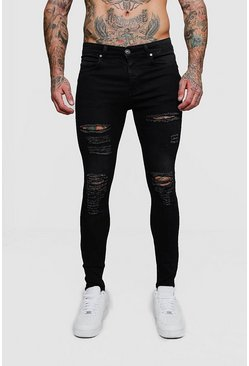 Super Skinny Jeans with All Over Rips, Washed black