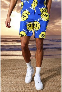 Cobalt blue Tall Mid Length Printed Swim Shorts