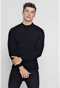 Black Muscle Fit Ribbed Turtle Neck Jumper