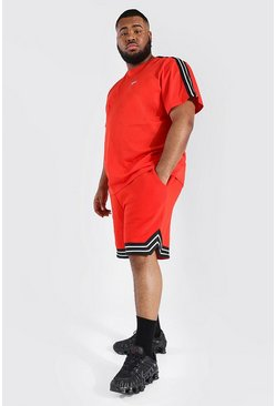 Red Plus Man Tape Tee And Basketball Short Set