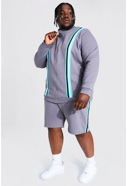Grey Plus Man Tape Funnel Neck Short Tracksuit