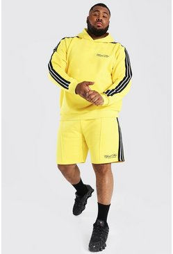 Yellow Plus Official Man Tape Hooded Short Tracksuit