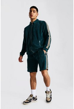 Teal green Man Towel Zip Through Short Tape Tracksuit