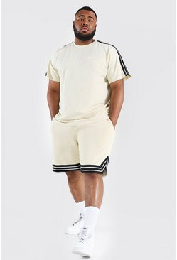 Sand beige Plus Man Tape Tee And Basketball Short Set