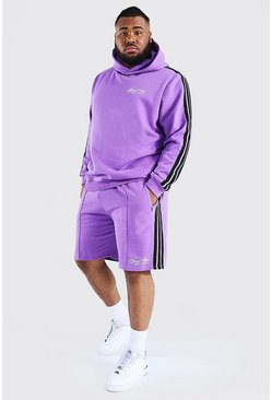 Pink Plus Official Man Tape Hooded Short Tracksuit