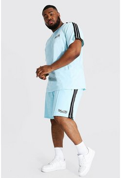 Light blue blue Plus Official Man Tape Tee And Short Set