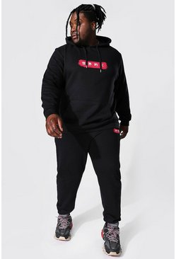 Black Plus Size Paint Stroke Print Hooded Tracksuit