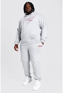 Grey marl grey Plus Size Atlanta Varsity Hooded Tracksuit