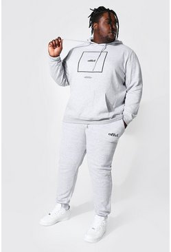 Plus Size Offcl Box Print Hooded Tracksuit, Grey marl gris
