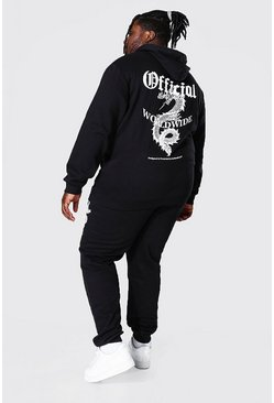 Black Plus Size Official Dragon Print Tracksuit
