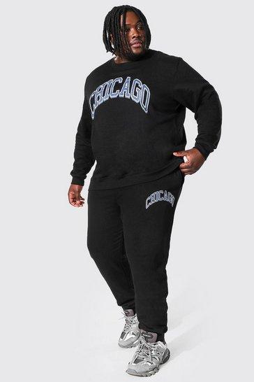 Black Plus Size Chicago Varsity Sweater Tracksuit